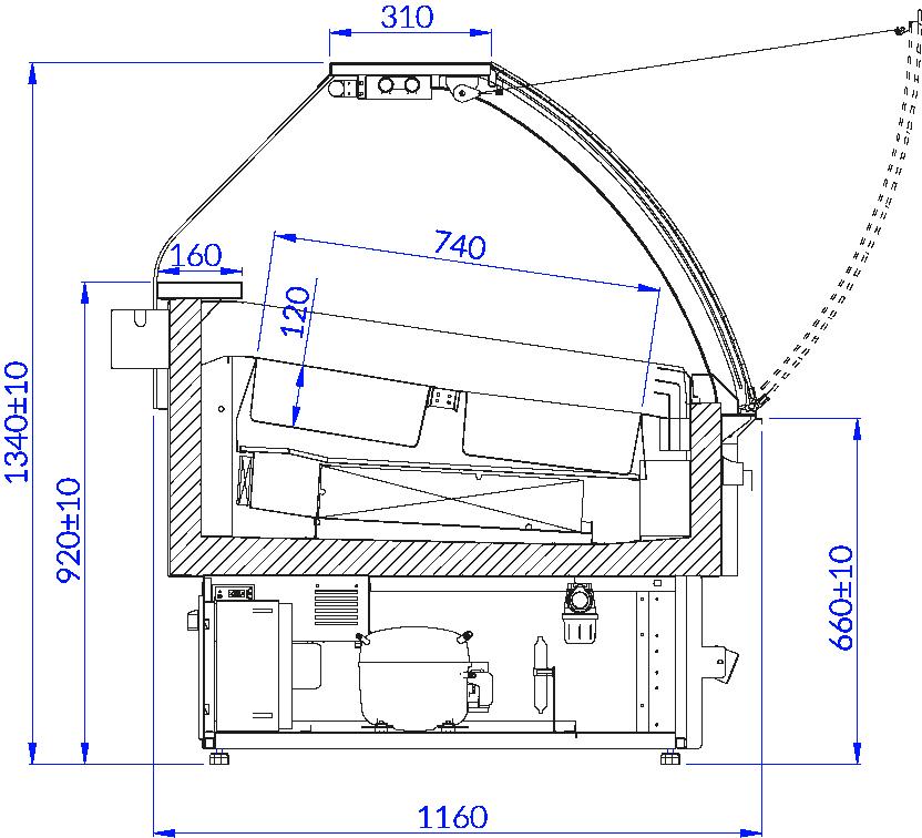 Rysunek techniczny Dystrybutor do lodów ADRIA ICE DRE