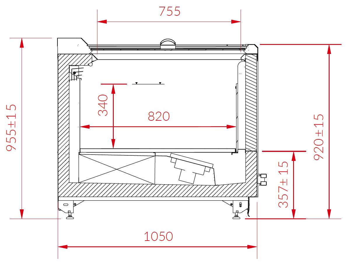 Rysunek techniczny Wyspa mroźnicza ADVANTA