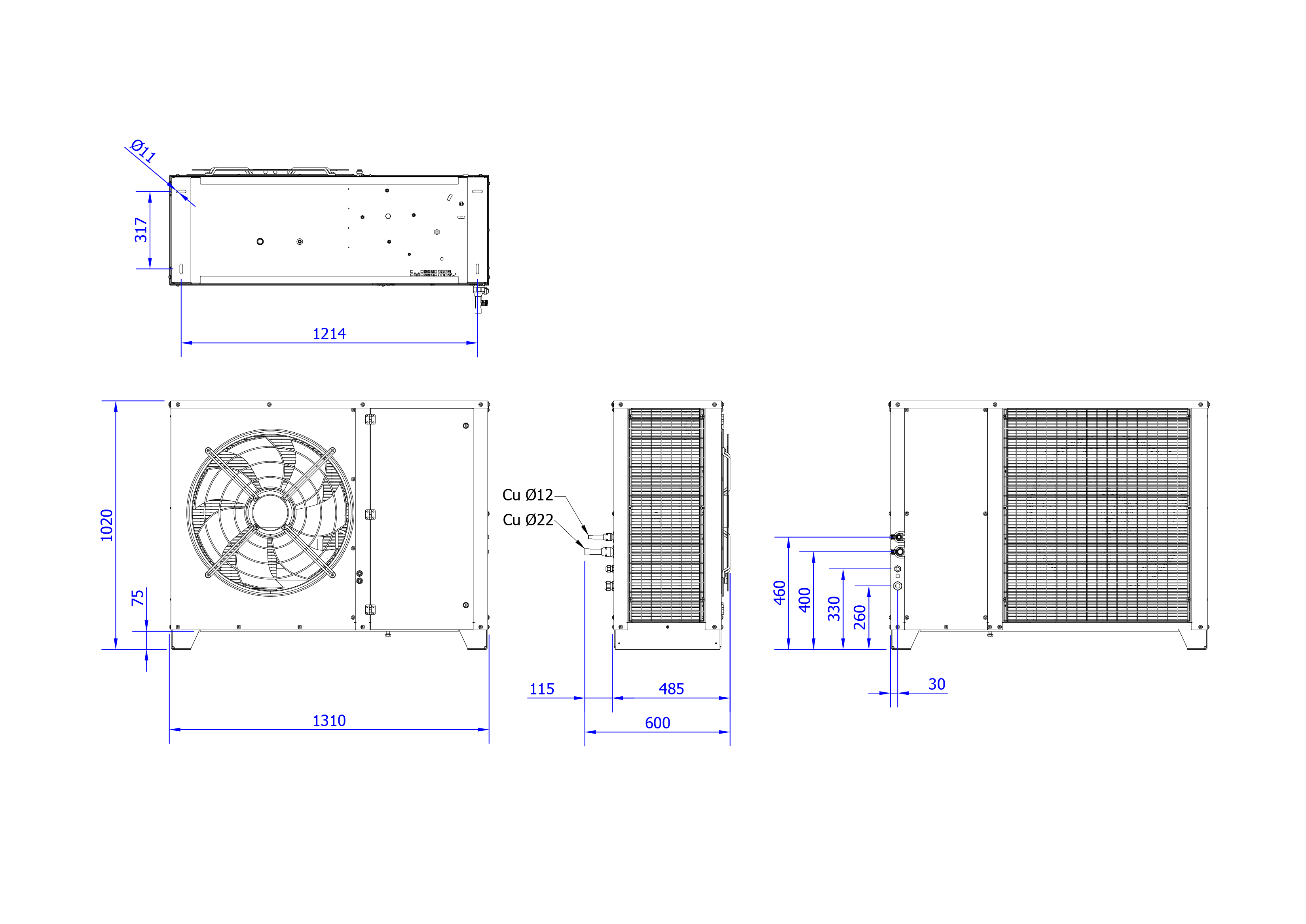 Rysunek techniczny Agregat inwerterowy MultiCool+ Agregat MCP 10