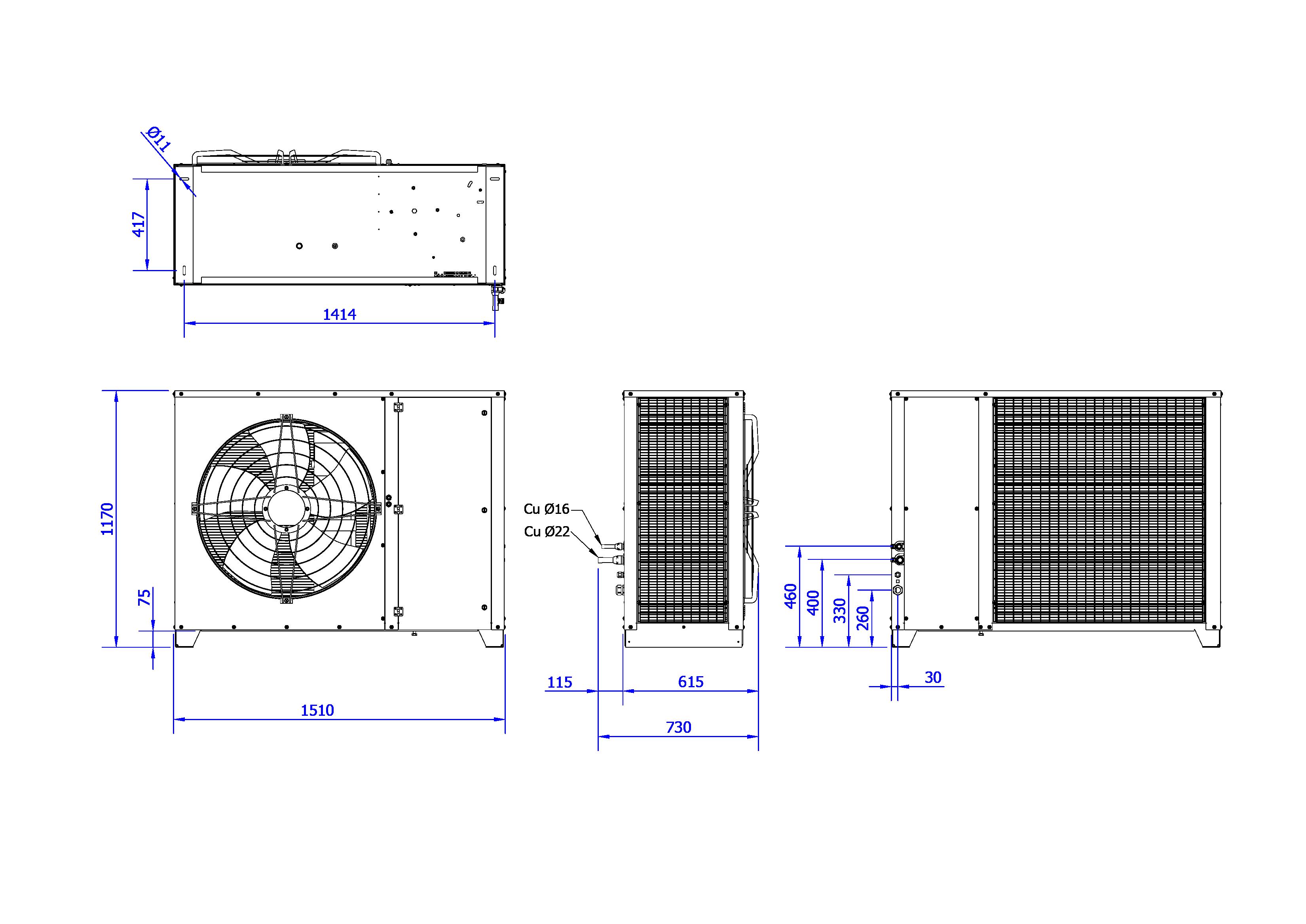 Rysunek techniczny Agregat inwerterowy MultiCool+ Agregat MCP 15