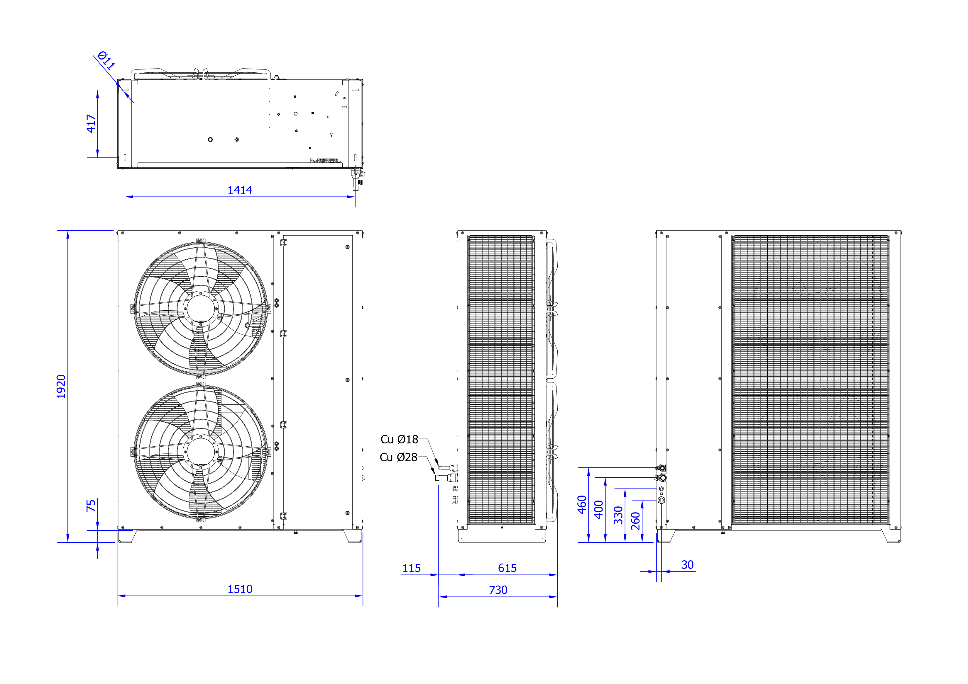 Rysunek techniczny Agregat inwerterowy MultiCool+ Agregat MCP 25