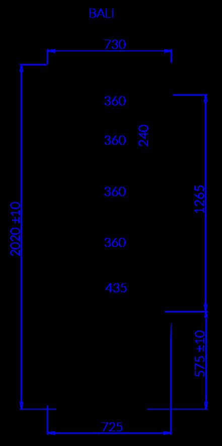 Rysunek techniczny Regał chłodniczy BALI