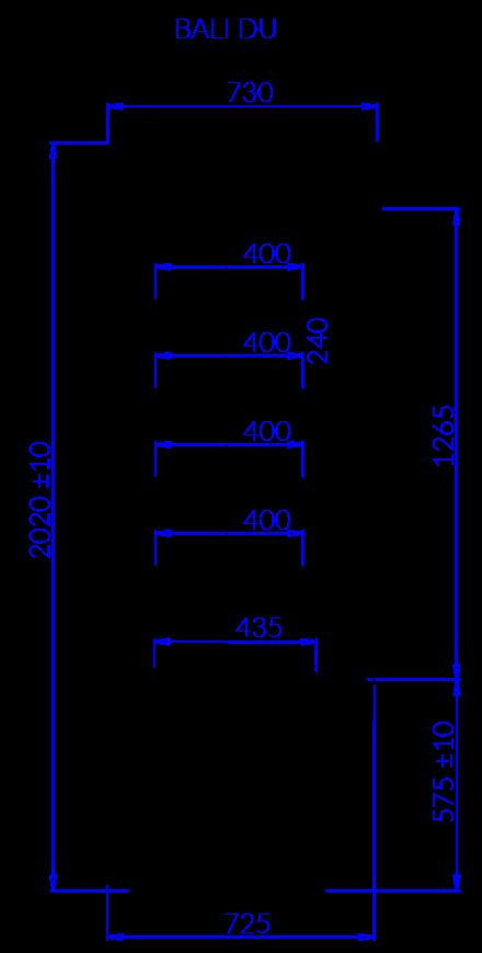Rysunek techniczny Regał chłodniczy BALI DU