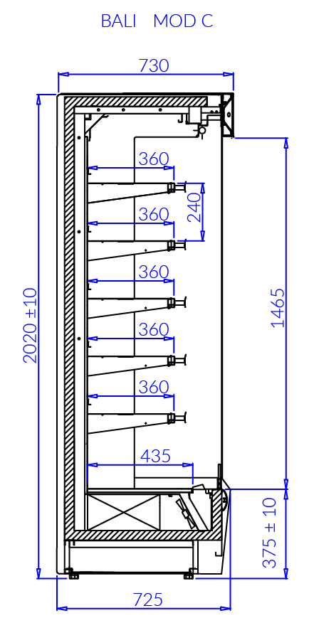 Rysunek techniczny Regał chłodniczy BALI MOD C