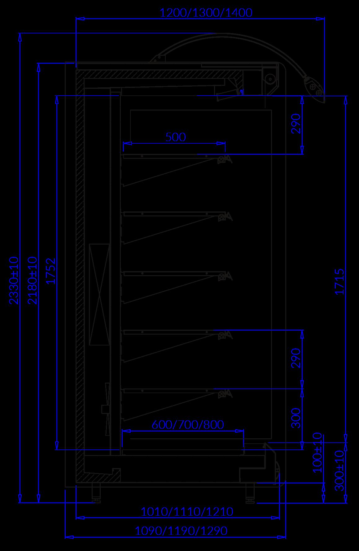 Rysunek techniczny Regał chłodniczy BARBADOS MOD C