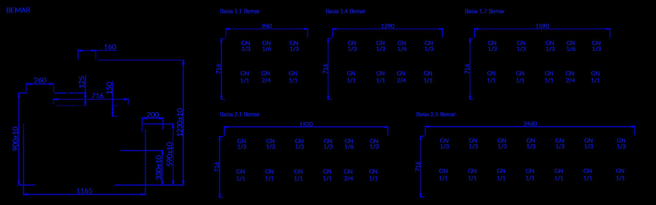 Rysunek techniczny Witryna Grzewcza BASIA 2 B