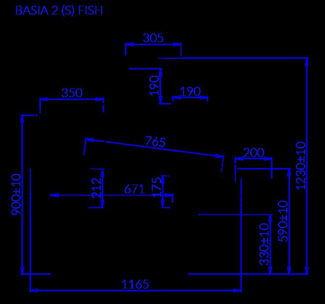 Rysunek techniczny Witryna chłodnicza BASIA 2 FISH
