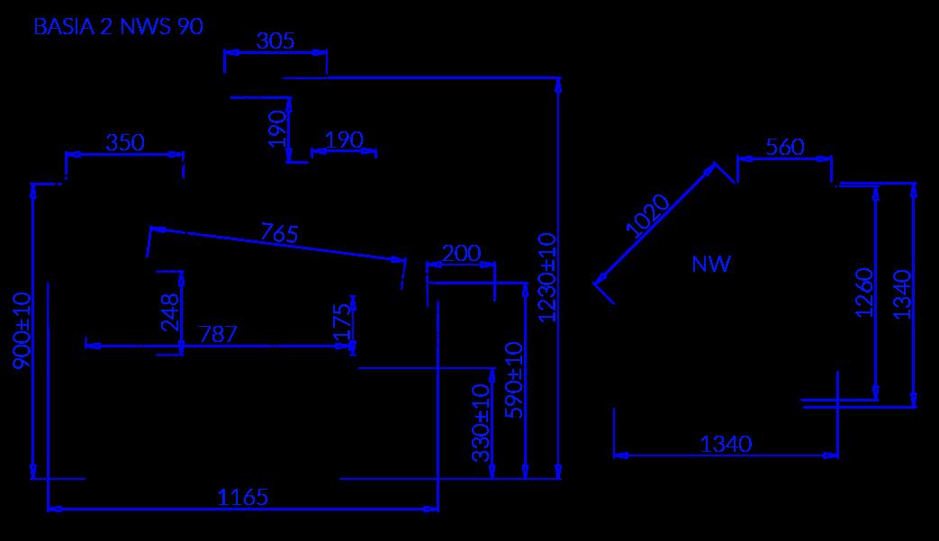 Rysunek techniczny Witryna chłodnicza BASIA 2 NW S
