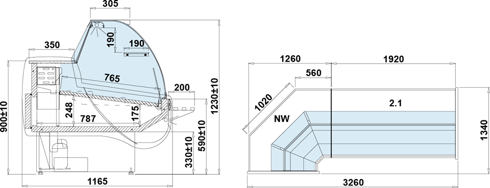 Rysunek techniczny Witryna chłodnicza BASIA 2 NW S zestawy