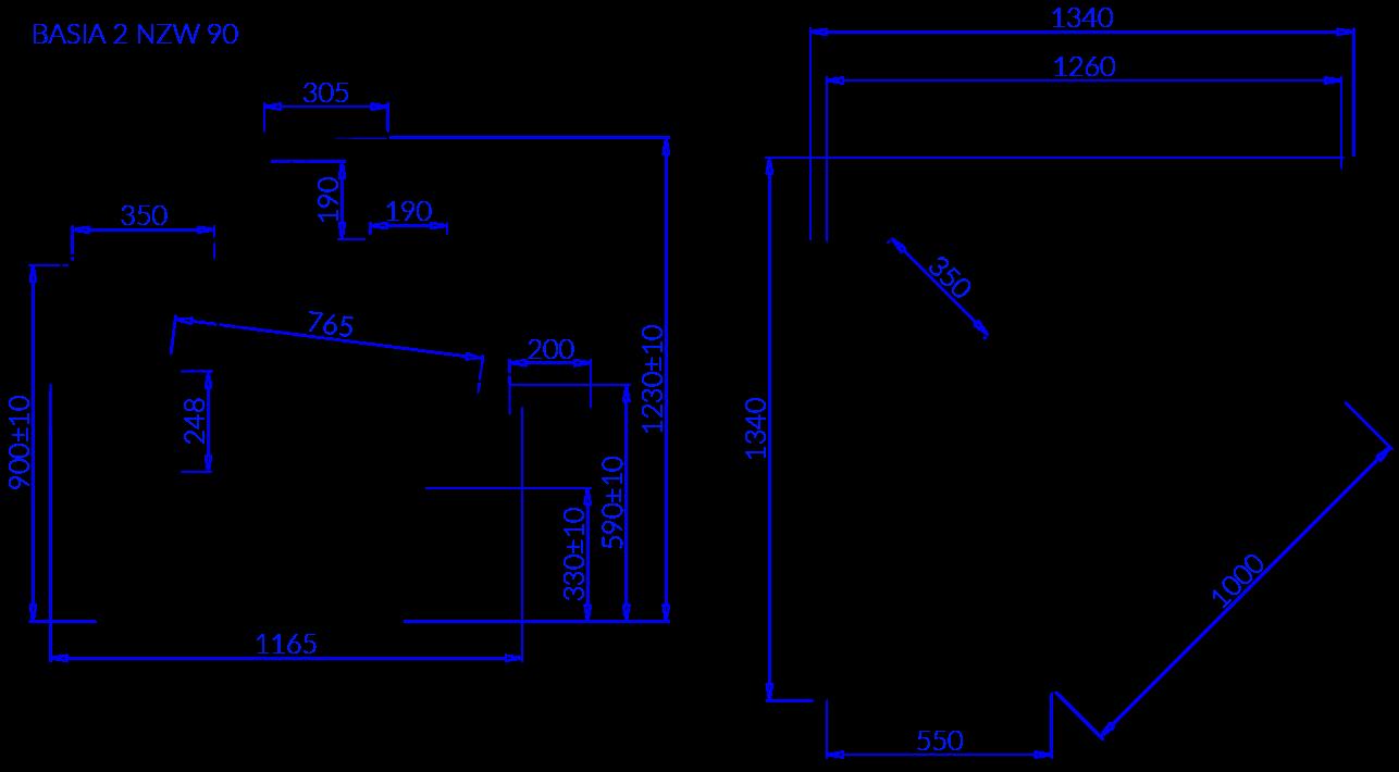 Rysunek techniczny Witryna chłodnicza BASIA 2 NZ W