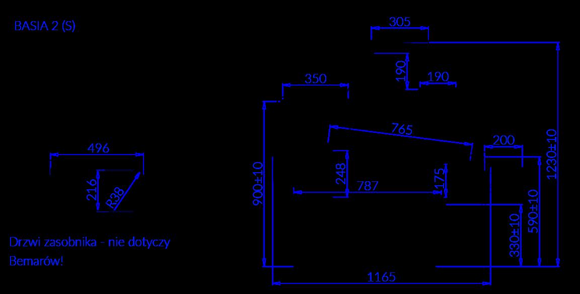 Rysunek techniczny Witryna chłodnicza BASIA 2 S