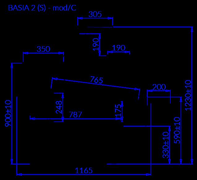 Rysunek techniczny Witryna chłodnicza BASIA 2 S MOD C