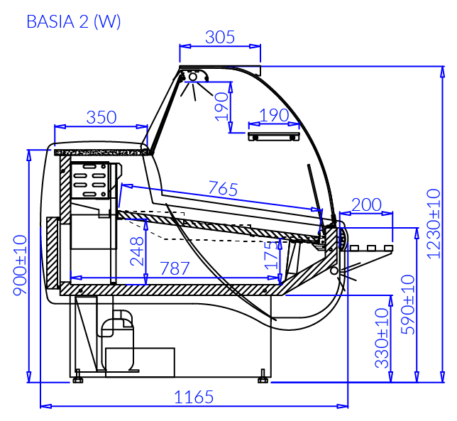 Rysunek techniczny Witryna chłodnicza BASIA 2 W