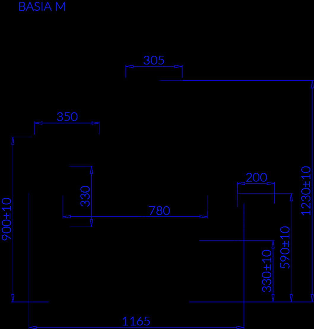Rysunek techniczny Witryna mroźnicza BASIA M MOD C