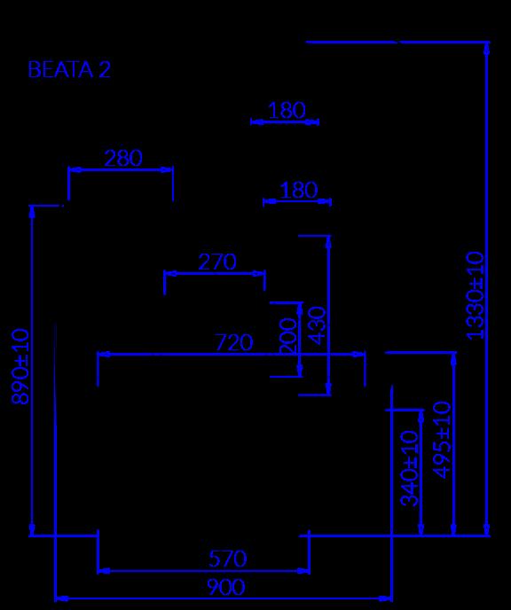 Rysunek techniczny Witryna cukiernicza BEATA 2