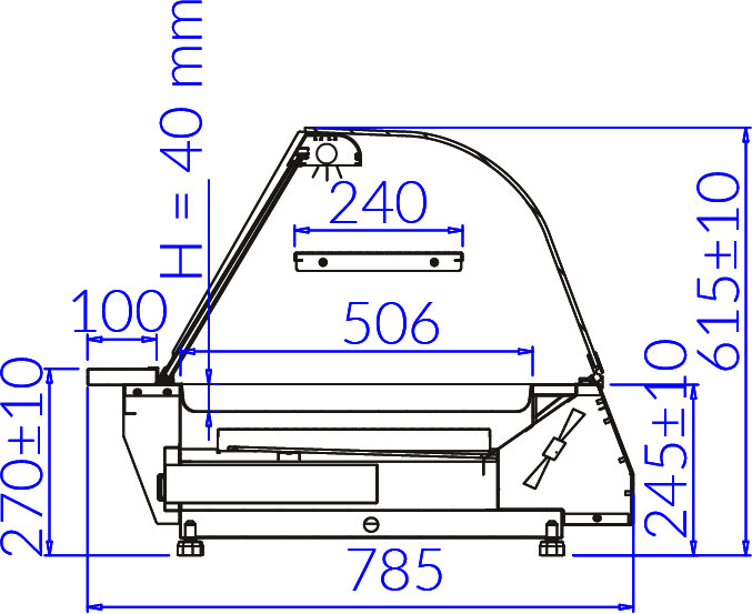 Rysunek techniczny Witryna grzewcza CELINA