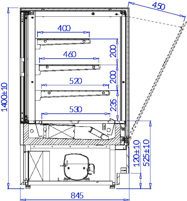Rysunek techniczny Witryna cukiernicza CUBE 2
