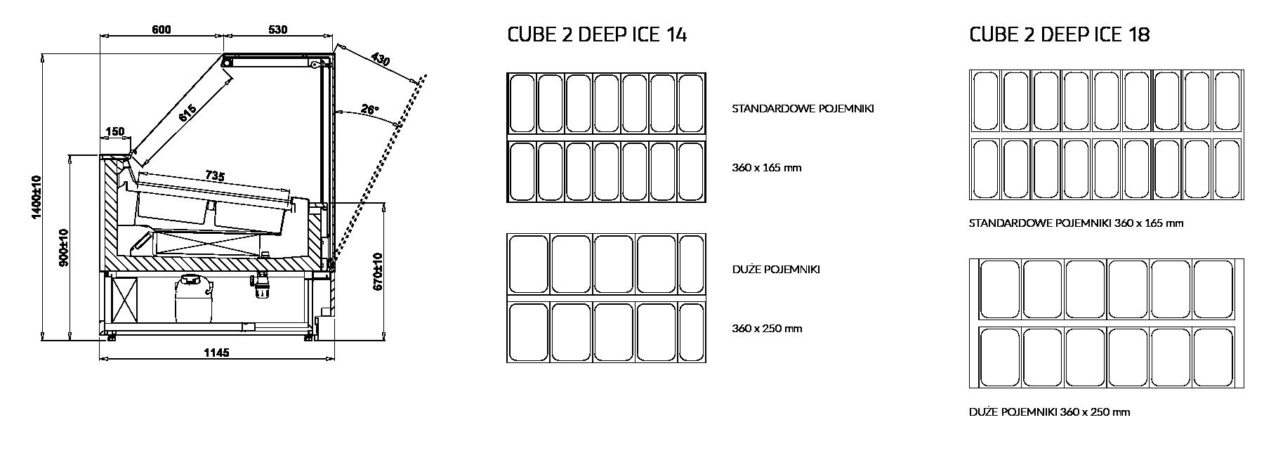 Rysunek techniczny Dystrybutor do lodów CUBE 2 DEEP ICE MOD C