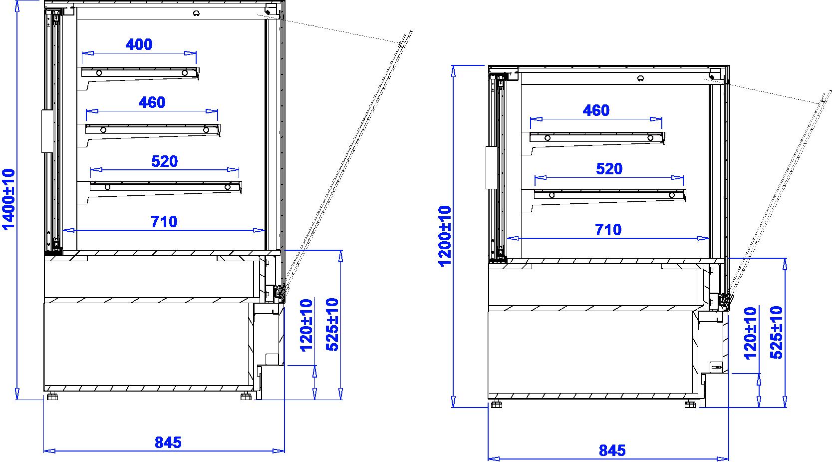 Rysunek techniczny Witryna cukiernicza CUBE 2 N