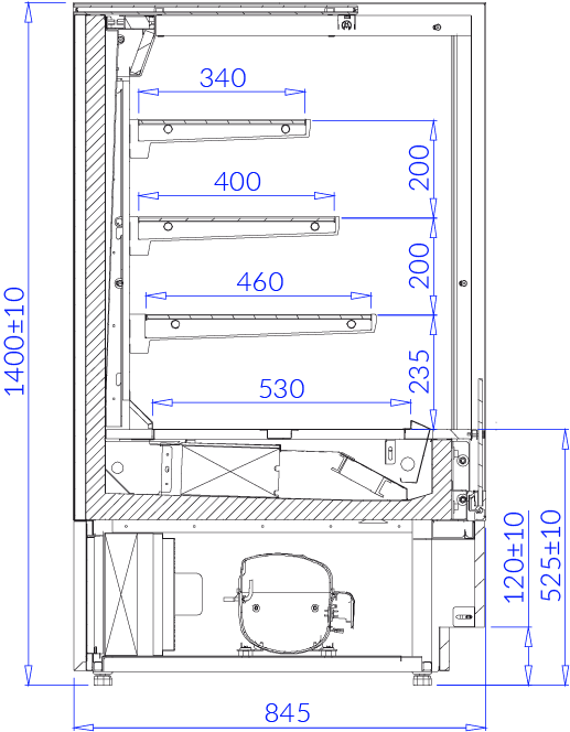 Rysunek techniczny Witryna cukiernicza CUBE 2 OPEN