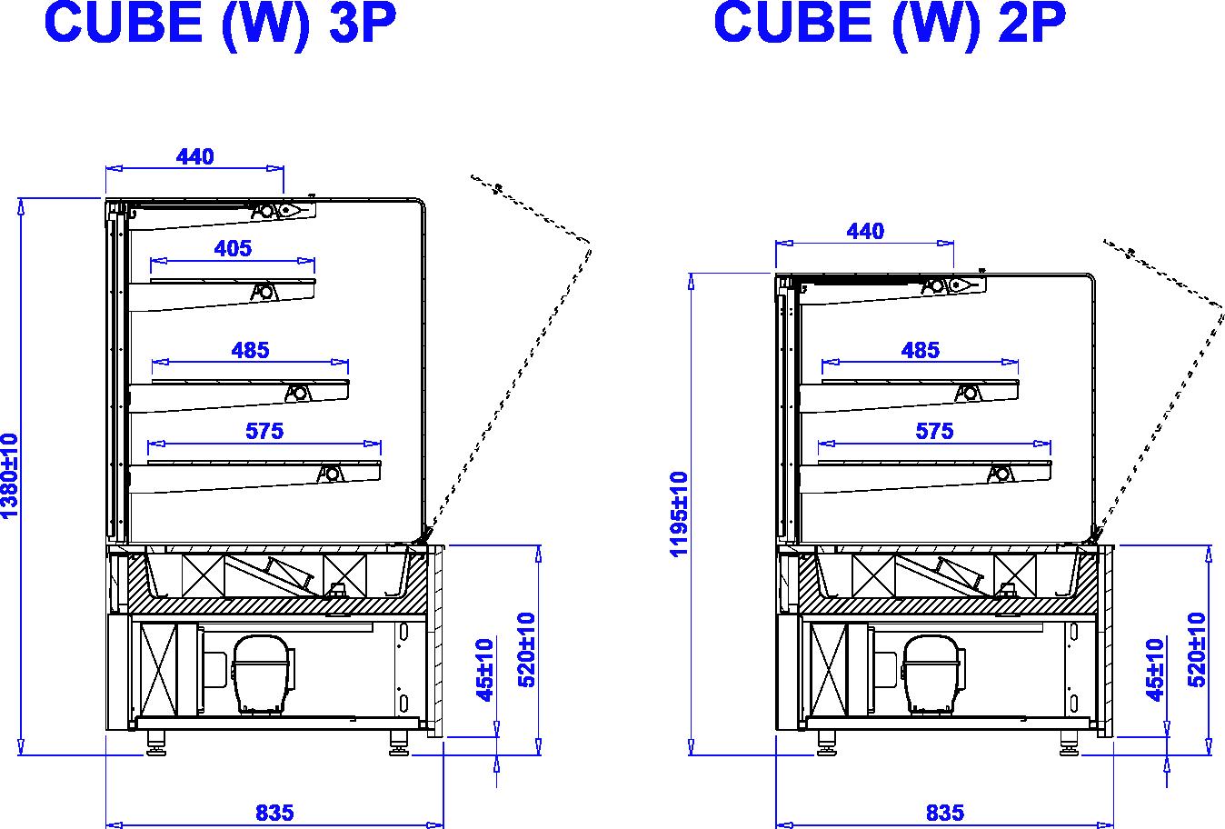 Rysunek techniczny Witryna cukiernicza CUBE W