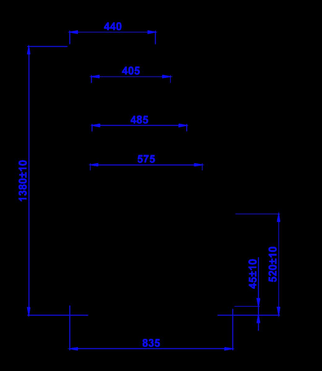 Rysunek techniczny Witryna cukiernicza CUBE W MOD C