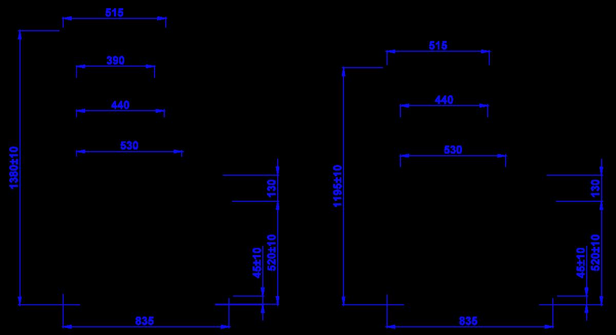 Rysunek techniczny Witryna cukiernicza CUBE W OPEN