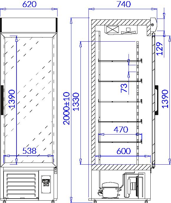 Rysunek techniczny Szafa chłodnicza EWA 1