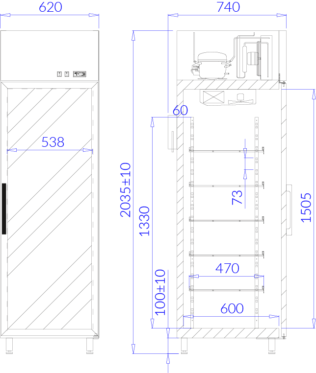 Rysunek techniczny Szafa chłodnicza EWA 1 AG