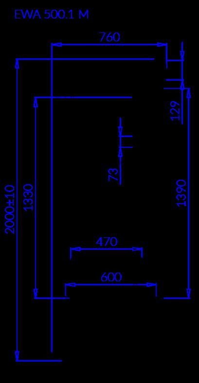 Rysunek techniczny Szafa mroźnicza EWA 1 M