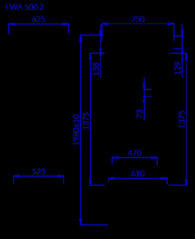 Rysunek techniczny Szafa chłodnicza EWA 2