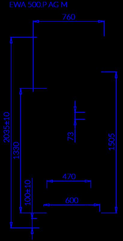 Rysunek techniczny Szafa mroźnicza EWA P AG M