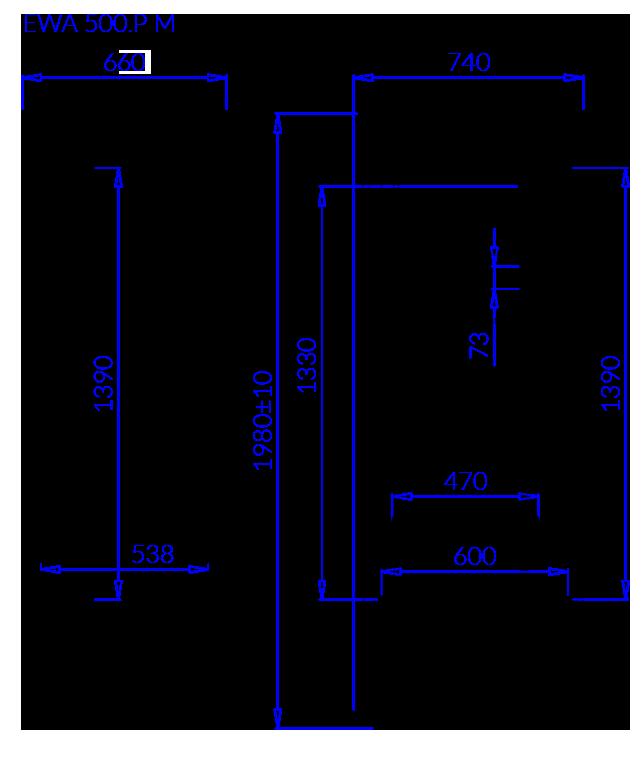 Rysunek techniczny Szafa mroźnicza EWA P M