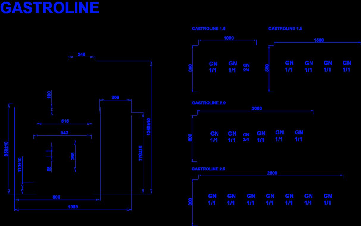 Rysunek techniczny Witryna sałatkowa GASTROLINE