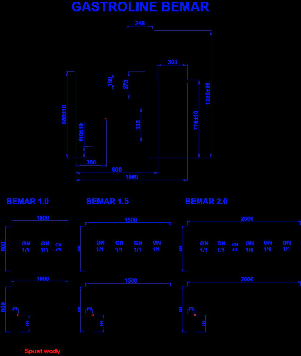 Rysunek techniczny Witryna grzewcza GASTROLINE BEMAR