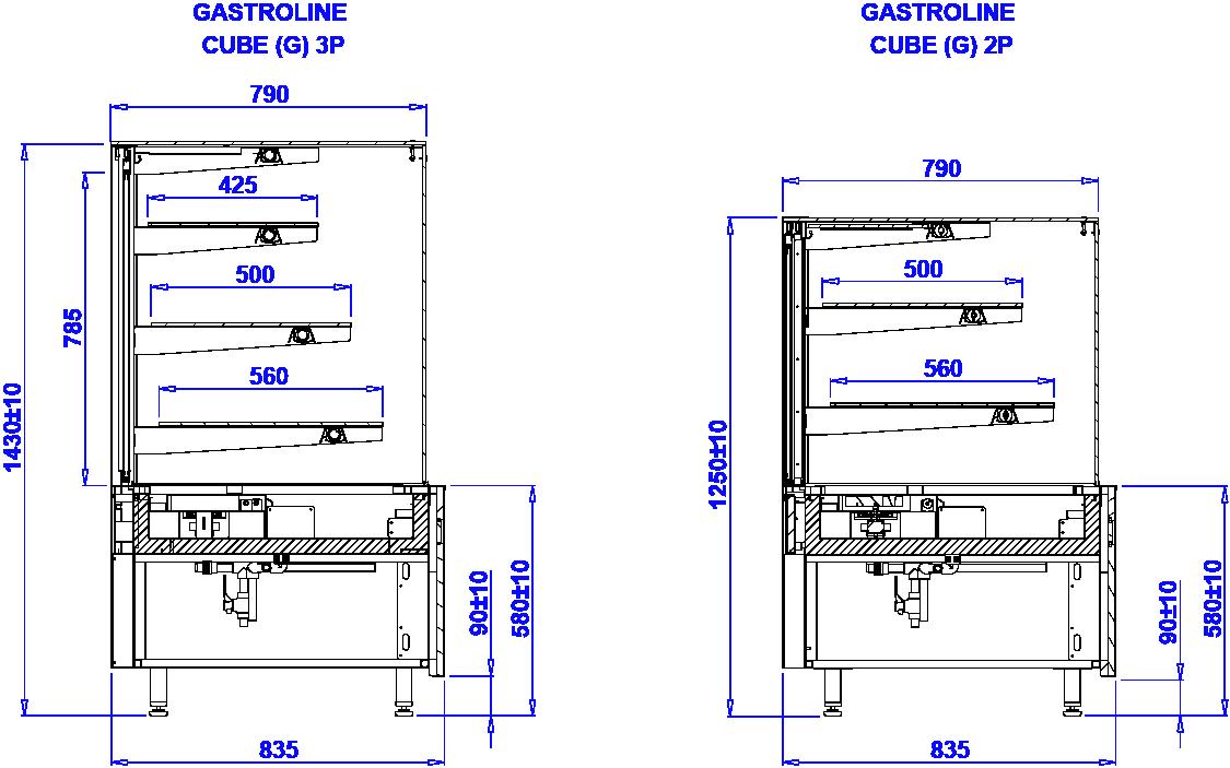 Rysunek techniczny Witryna grzewcza GASTROLINE CUBE G