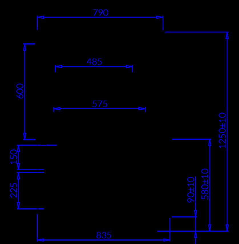 Rysunek techniczny Witryna cukiernicza GASTROLINE CUBE N MOD
