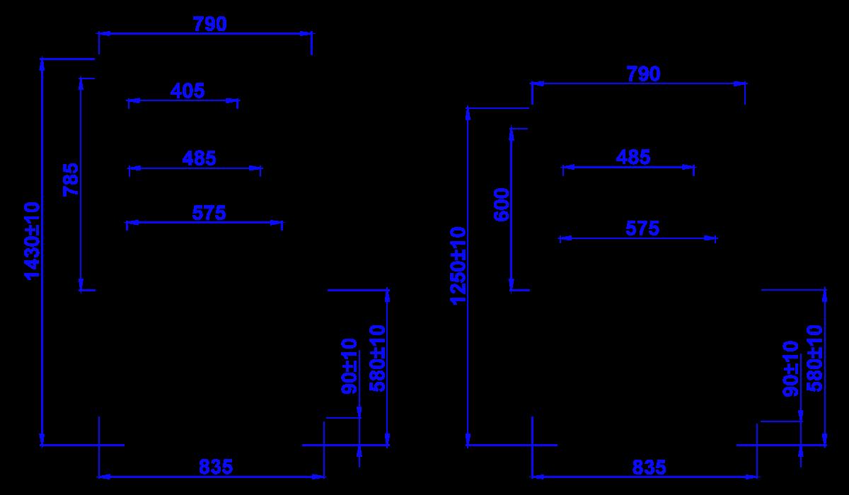 Rysunek techniczny Witryna cukiernicza GASTROLINE CUBE W MOD C