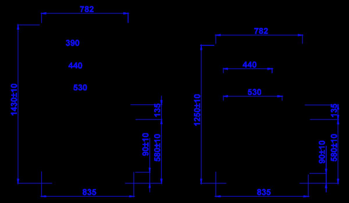 Rysunek techniczny Witryna cukiernicza GASTROLINE CUBE W OPEN MOD C