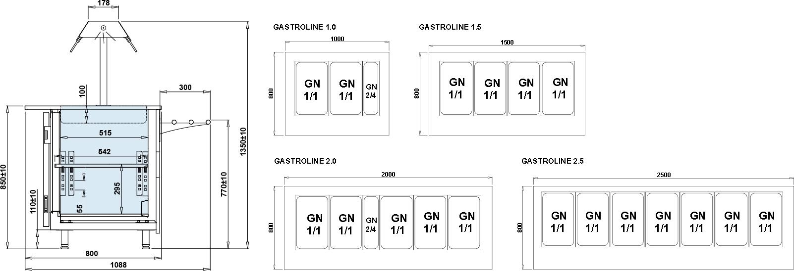 Rysunek techniczny Witryna sałatkowa GASTROLINE OPEN