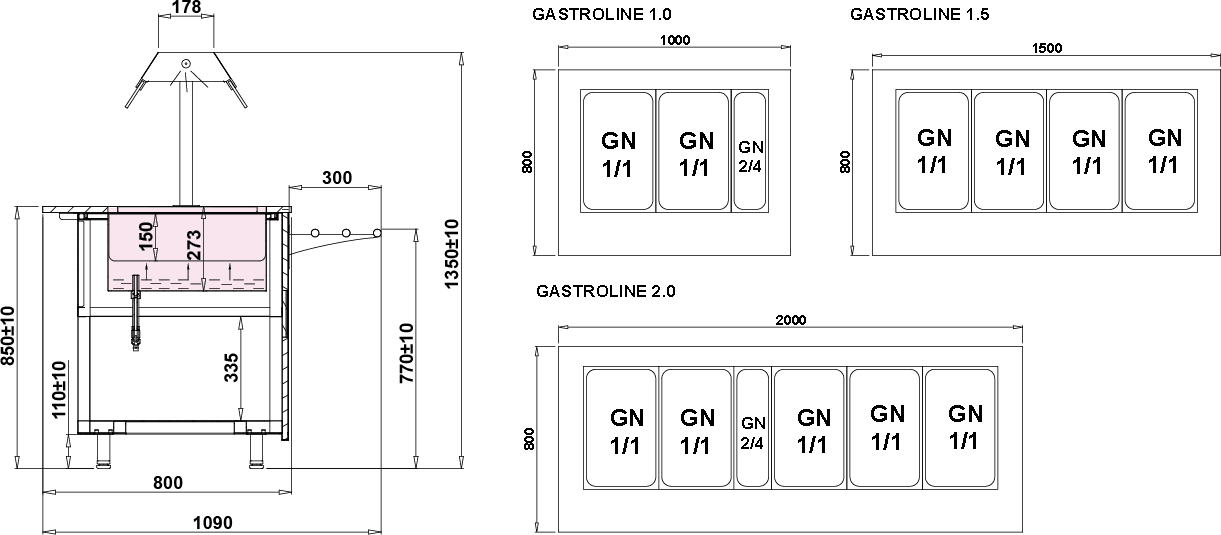 Rysunek techniczny Witryna grzewcza GASTROLINE OPEN BEMAR