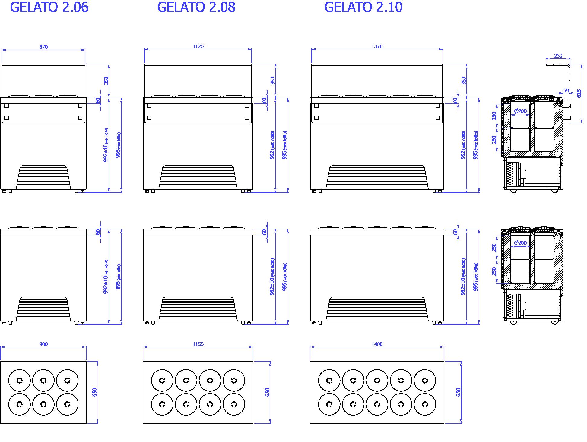 Rysunek techniczny Dystrybutor do lodów GELATO 2