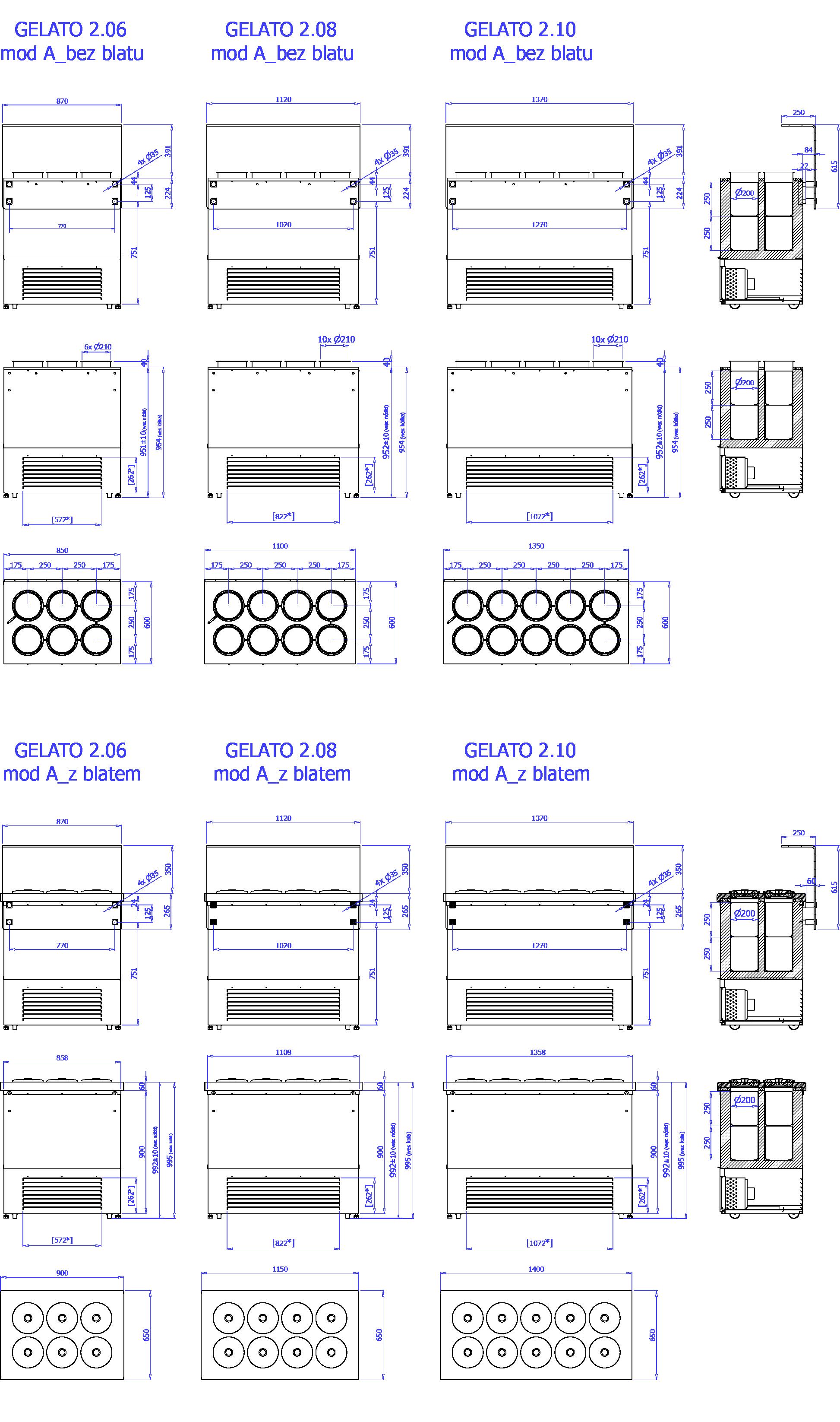 Rysunek techniczny Dystrybutor do lodów GELATO 2 MOD A