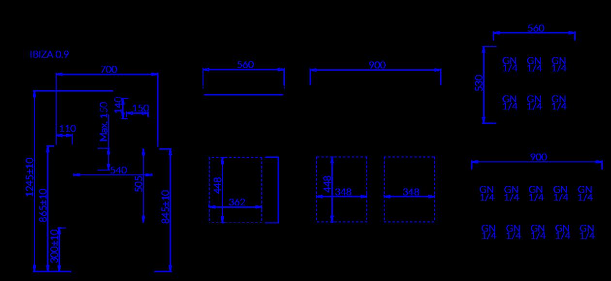 Rysunek techniczny Witryna sałatkowa IBIZA