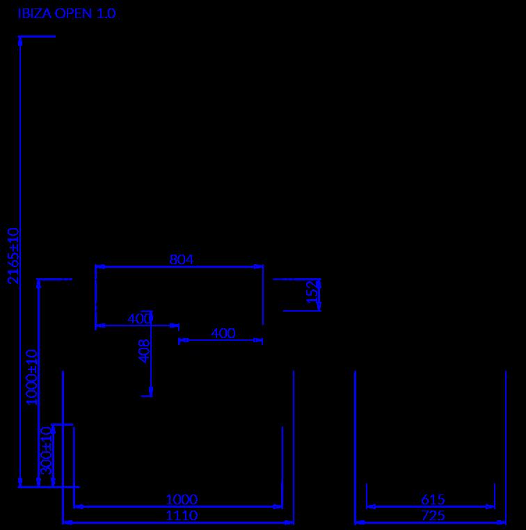 Rysunek techniczny Witryna sałatkowa IBIZA OPEN