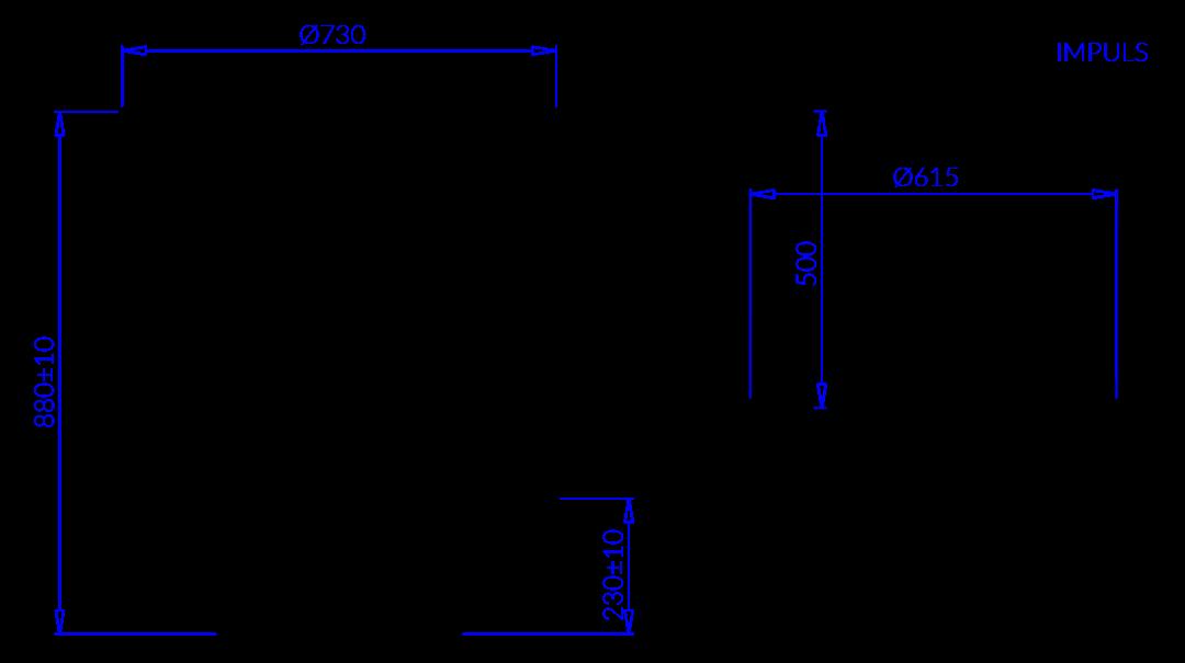 Rysunek techniczny Regał chłodniczy do sprzedaży impulsowej IMPULS