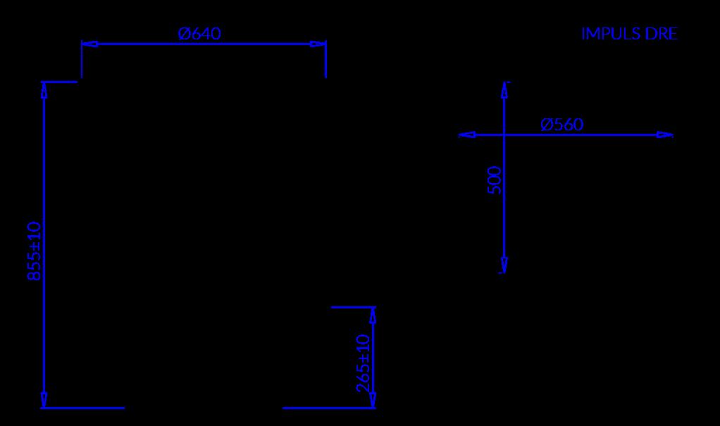 Rysunek techniczny Regał chłodniczy do sprzedaży impulsowej IMPULS DRE