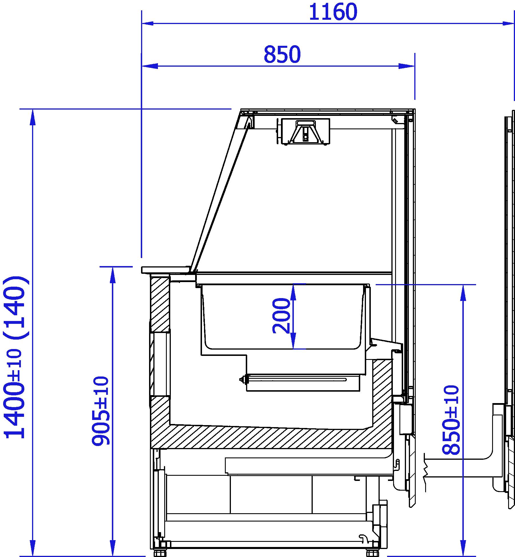 Rysunek techniczny Witryna grzewcza INNOVA BEMAR