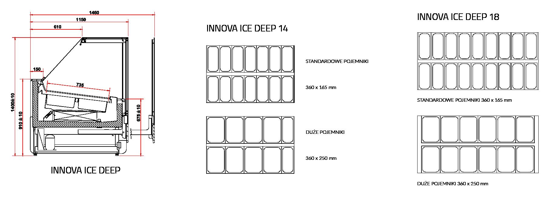 Rysunek techniczny Dystrybutor do lodów INNOVA DEEP ICE MOD C