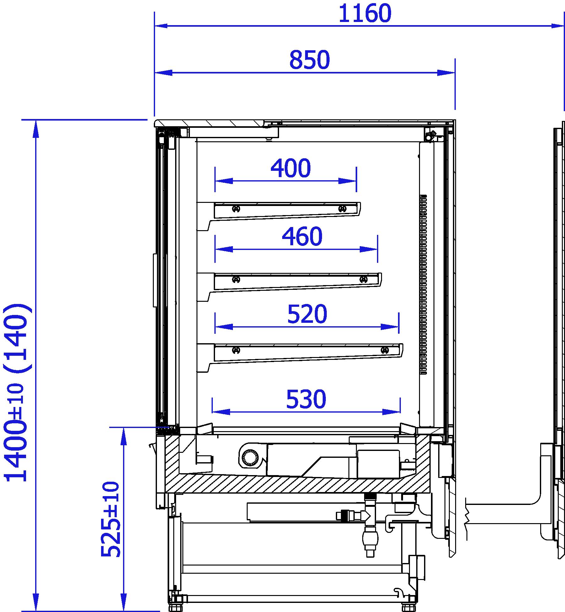Rysunek techniczny Witryna grzewcza INNOVA HOT